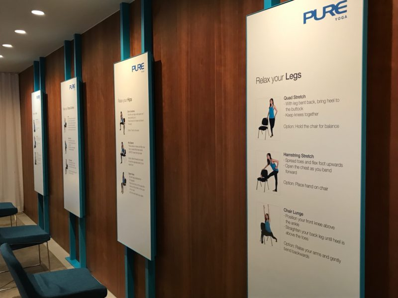 cathay pacific business class hong kong lounge yoga exercise